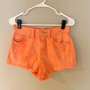 Bright Orange Urban Outfitters Denim Shorts